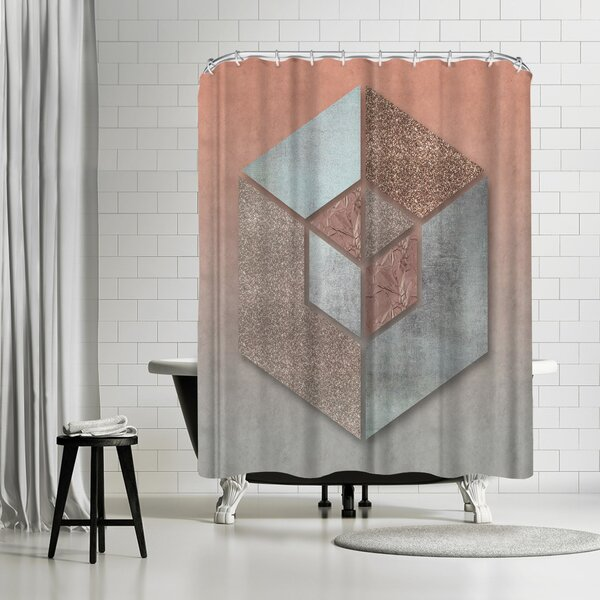 Lebens Art Pastel Salmon Hexagon Shower Curtain by East Urban Home