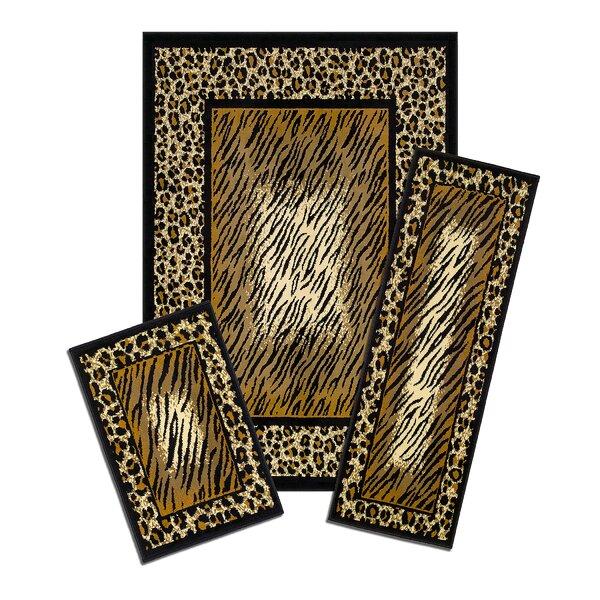 Capri 3 Piece Brown Leopard Skin Area Rug Set by Achim Importing Co