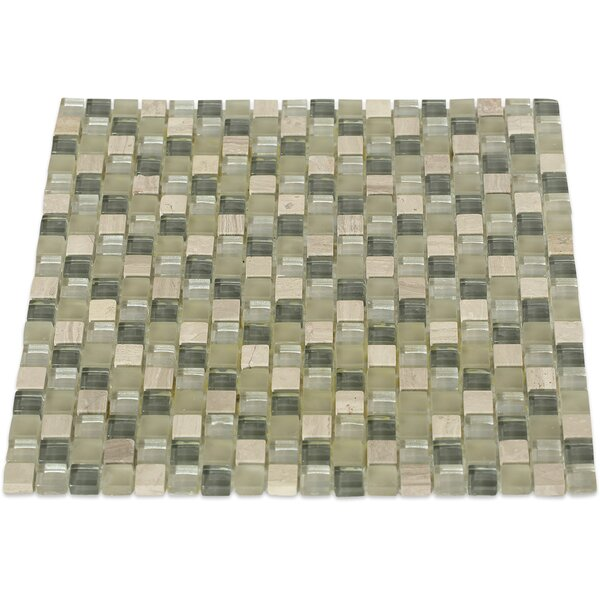 Naiad 0.5 x 0.5 Mixed Material Mosaic Tile in Green by Splashback Tile