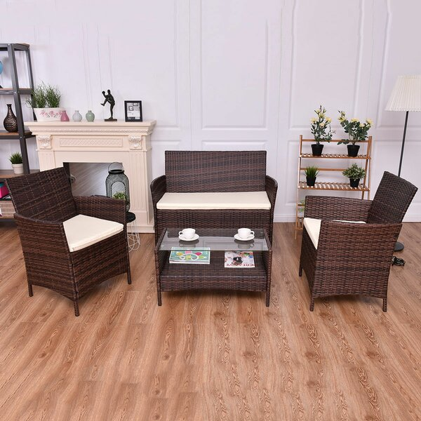 Anyan 4 Piece Rattan Sofa Seating Group with Cushions by World Menagerie