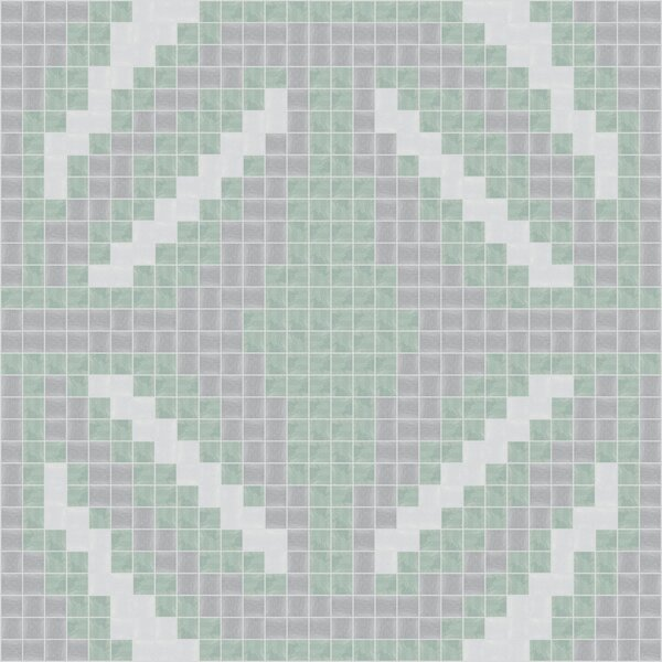 Urban Essentials Gothic Ornament 3/4 x 3/4 Glass Glossy Mosaic in Placid Turquoise by Mosaic Loft