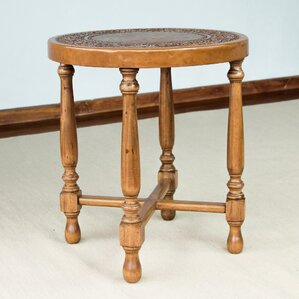 Colonial Light Mohena Wood and Leather End Table by Novica