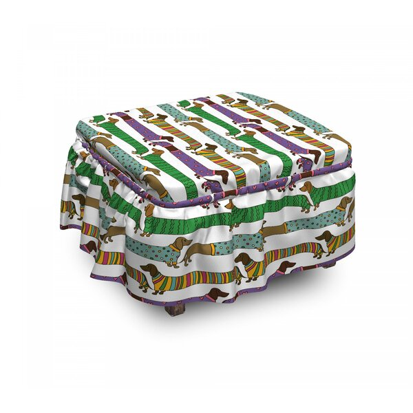 Dog Lover Dachshunds In Clothes 2 Piece Box Cushion Ottoman Slipcover Set By East Urban Home