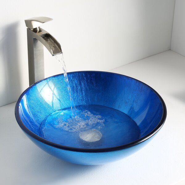 Clavier Glass Circular Vessel Bathroom Sink by ANZZI