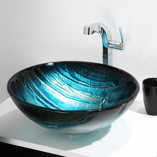 Ladon Glass Circular Vessel Bathroom Sink by Kraus