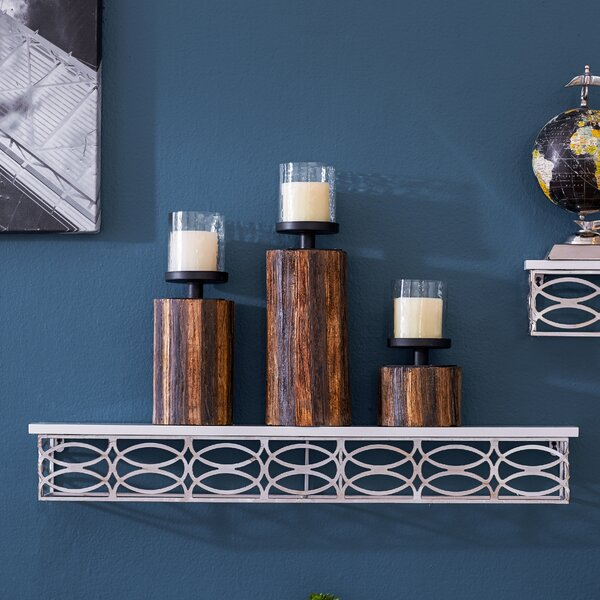 3 Piece Wood, Glass & Metal Candlestick Set by Loon Peak