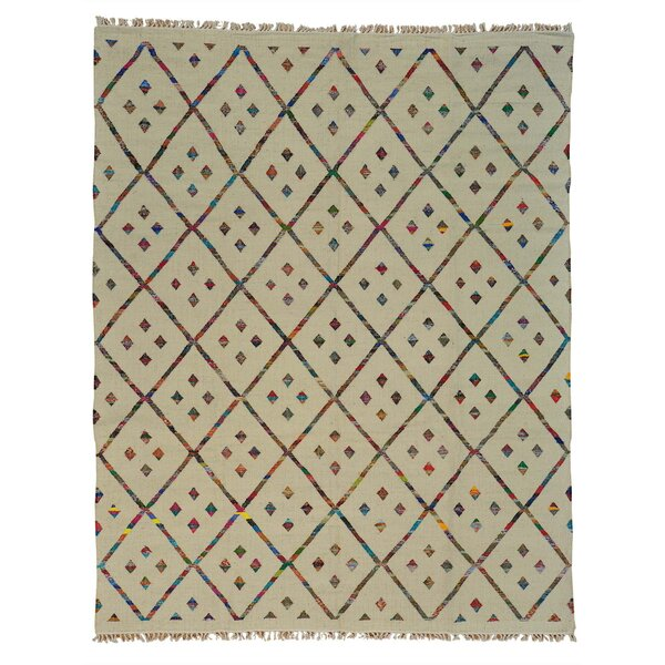 Durie Kilim Hand-Knotted Ivory Area Rug by Bungalow Rose