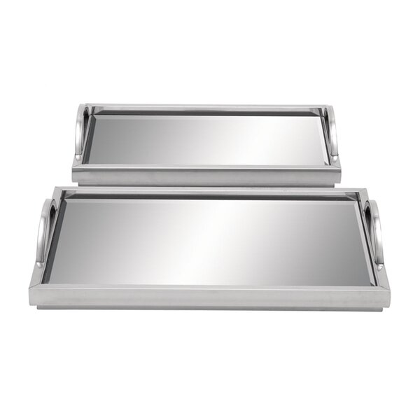 Stainless Steel Mirror 2 Piece Vanity Tray Set by Cole & Grey