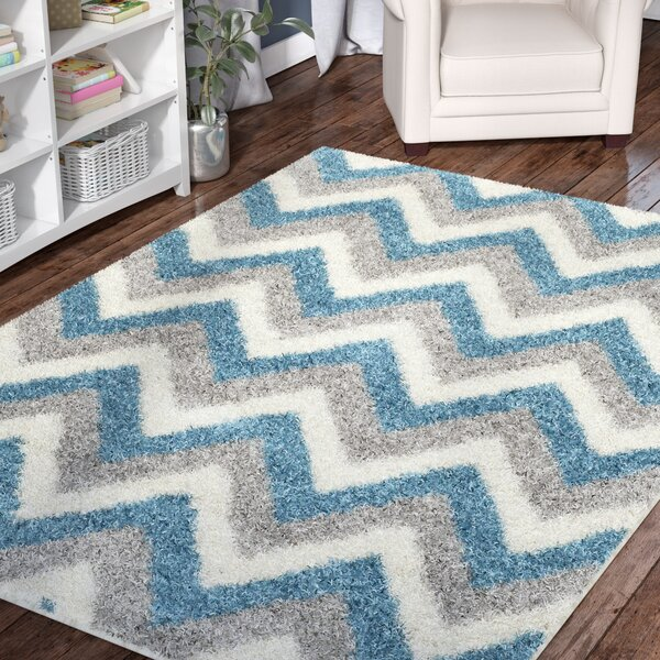 Kids Ivory/Blue/Gray Area Rug by Viv + Rae