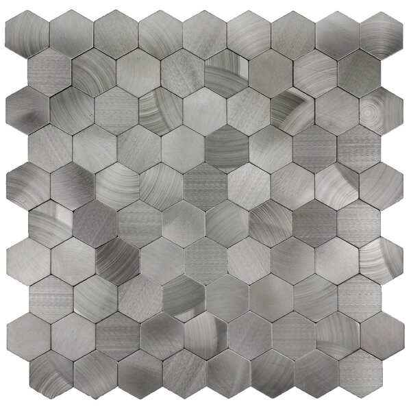 Enchanting 12 x 12 Metal Peel and Stick  Mosaic Tile in Silver by Abolos