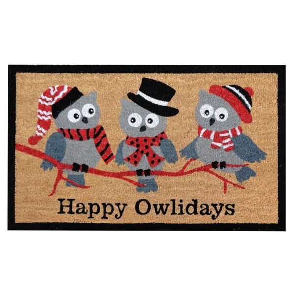 The Holiday Aisle Happy Owlidays Christmas Coir Doormat