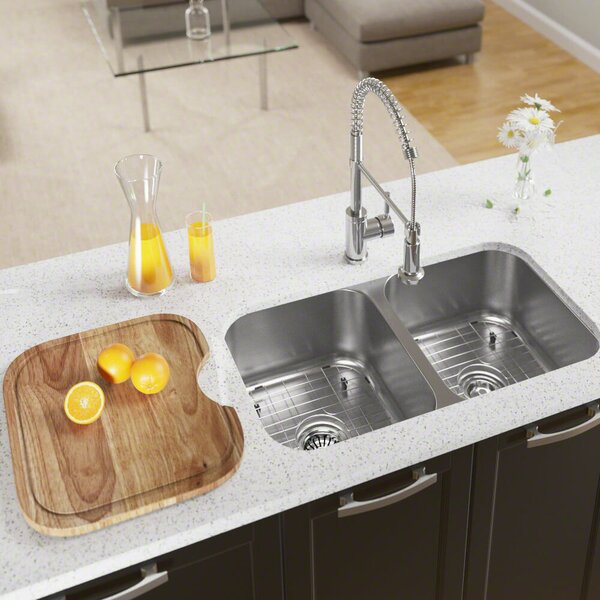 Stainless Steel 33 x 18 Double Basin Undermount Kitchen Sink by MR Direct