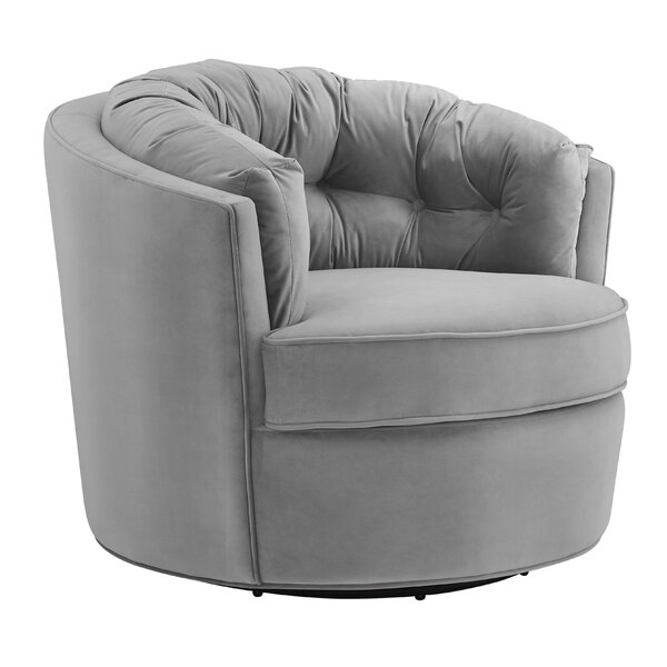 Swifton Velvet Swivel Barrel Chair by Mercer41 Mercer41