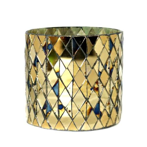 Traditional Cylindrical Mosaic Glass Votive Holder by Bungalow Rose