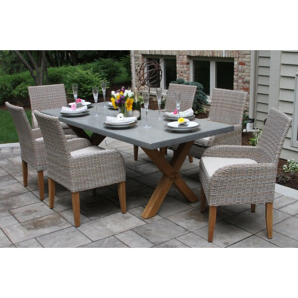 Marrero-Choe 7 Piece Teak Dining Set with Sunbrella Cushions by Gracie Oaks