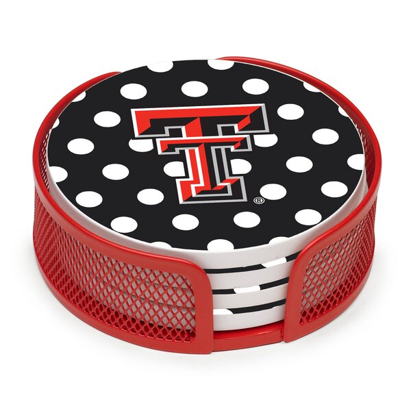 5 Piece Texas Tech University Dots Collegiate Coaster Gift Set by Thirstystone