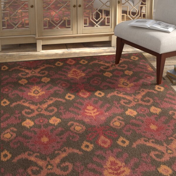 Appian Brown/Red Area Rug by Bungalow Rose