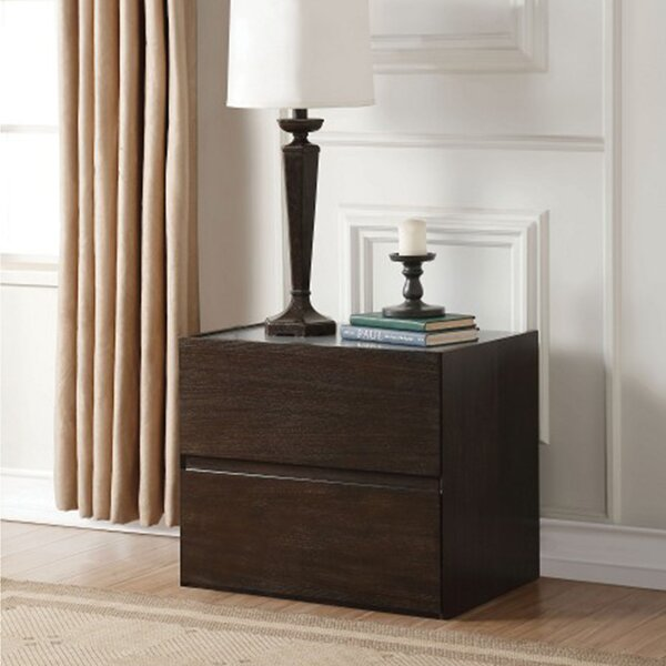 Adlih 2 - Drawer Nightstand in Gray and Espresso by Latitude Run