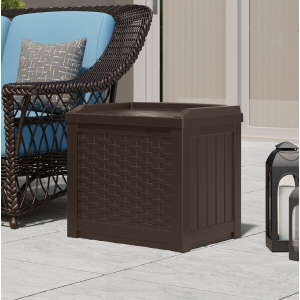 Wicker 22 Gallon Resin/Plastic Storage Bench By Suncast
