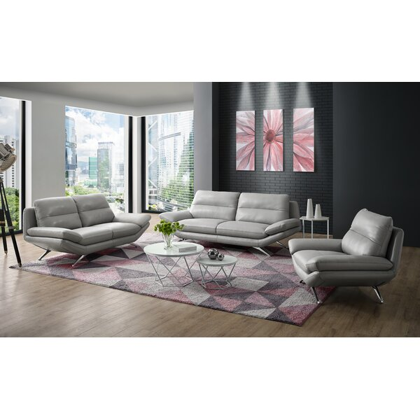 Brandonville 3 Piece Leather Living Room Set by Orren Ellis