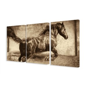 'Galloping Stallion Horse' 3 Piece Photographic Print Canvas Set by Union Rustic
