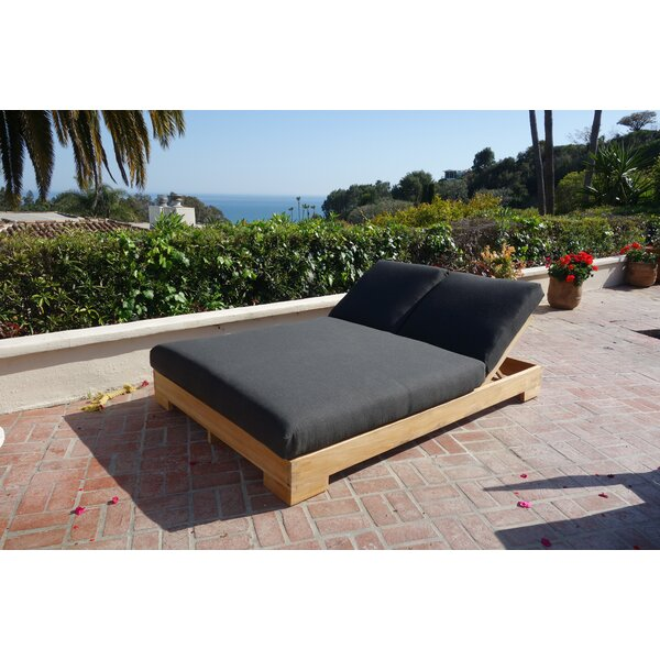 Attwater Double Reclining Teak Chaise Lounge with Cushion by Brayden Studio