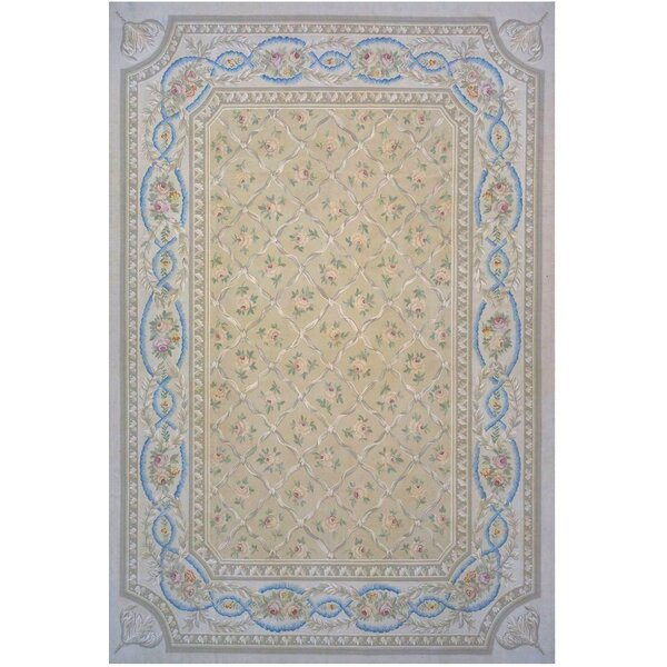 Aubusson Hand-Woven Wool Beige/Brown/Blue Area Rug by Pasargad
