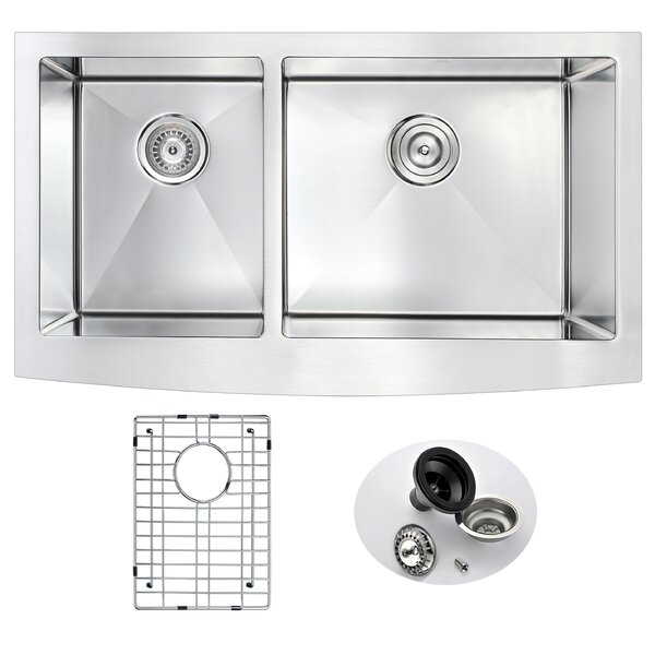 Elysian 35.88 x 20.75 Double Basin Farmhouse Kitchen Sink with Drain Assembly by ANZZI