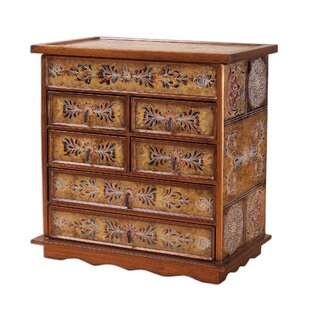 Best Choices Golden Glow Reverse Painted Glass Jewelry Box ByBloomsbury Market