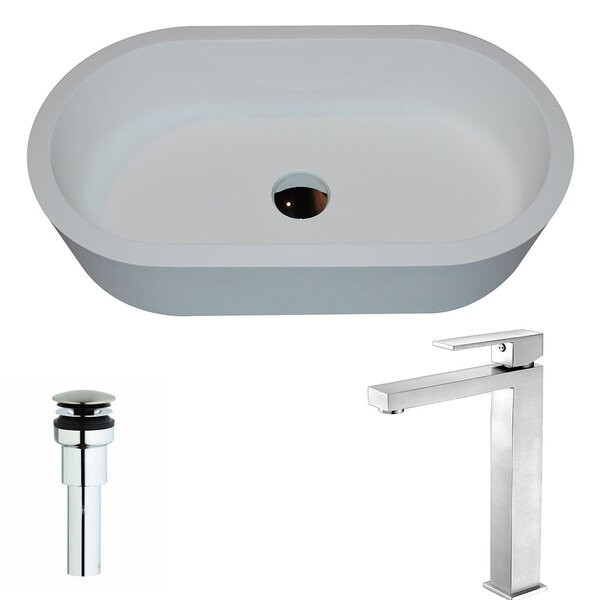 Vaine Stone Oval Vessel Bathroom Sink with Faucet by ANZZI