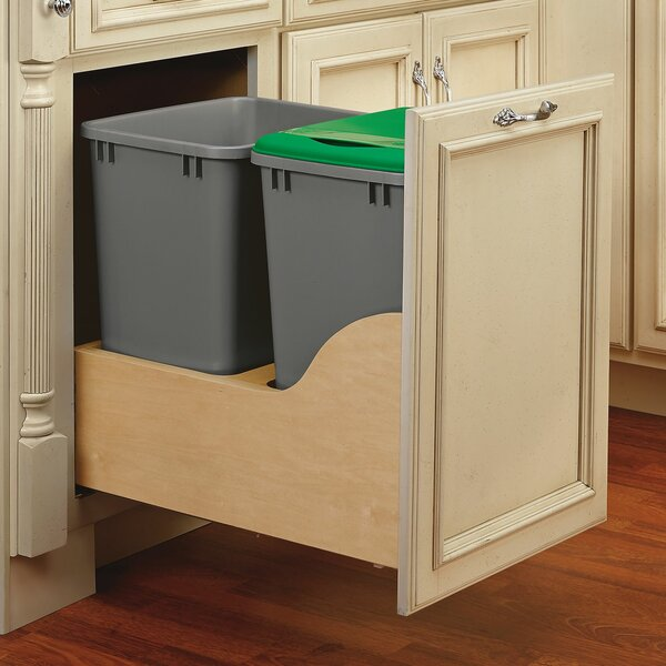 rev a shelf double pull out trash can reviews wayfair. Black Bedroom Furniture Sets. Home Design Ideas
