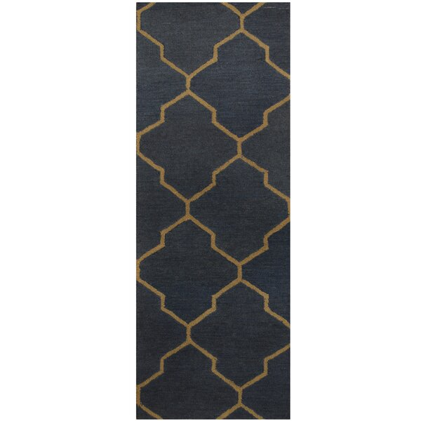 Hand-Tufted Navy/Gray Area Rug by Herat Oriental