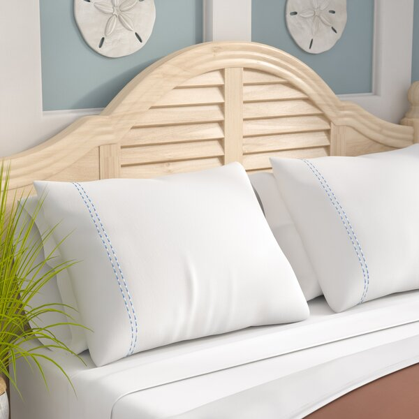 Isleboro Sateen Embroidered 400 Thread Count Double Stripe Pilllow Case by Beachcrest Home