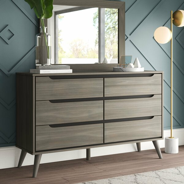Mason 6 Drawer Double Dresser with Mirror by Mercury Row