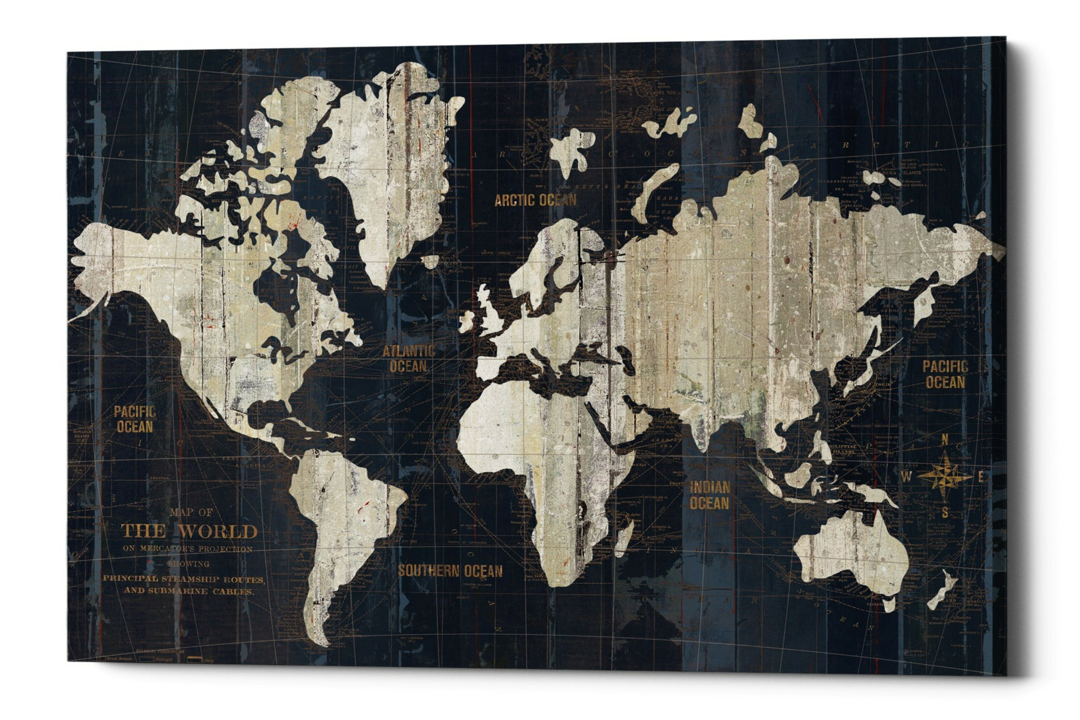 'Old World Map' Framed Graphic Art Print On Canvas In Beige/Navy on drawing map, marine map, north atlantic drift map, denim map, disney channel map, wax map, metallic map, laminated map, geographix map, string map, graphic map, world map, exalted map, middle bay lighthouse map, solid map, calculating map, tarp map, wallpaper map, design your own map, styrofoam map,