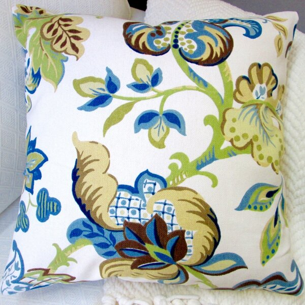 Garden Flowers Modern French Cottage Floral Indoor Pillow Cover by Artisan Pillows