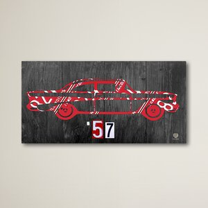 '57 Chevy License Plate Art' Graphic Art on Wrapped Canvas by Williston Forge