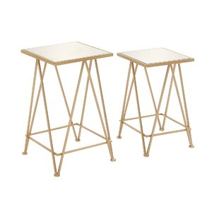 Metal and Mirror Tray 2 Piece End Table By Cole & Grey