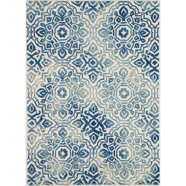Demars Hand-Knotted Looped/Hooked Wool Blue/Ivory Area Rug by Bungalow Rose