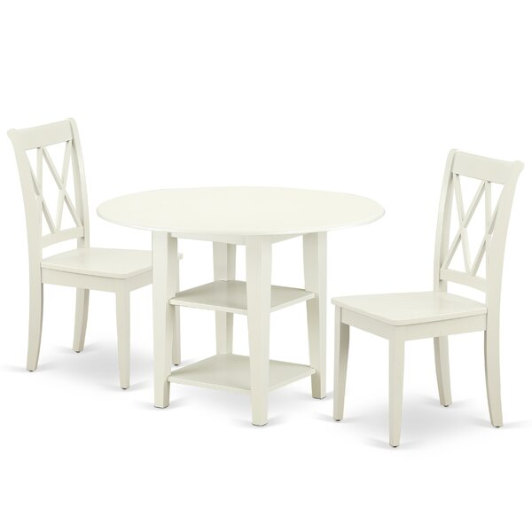 Kuester 3 Piece Drop Leaf Solid Wood Dining Set by August Grove
