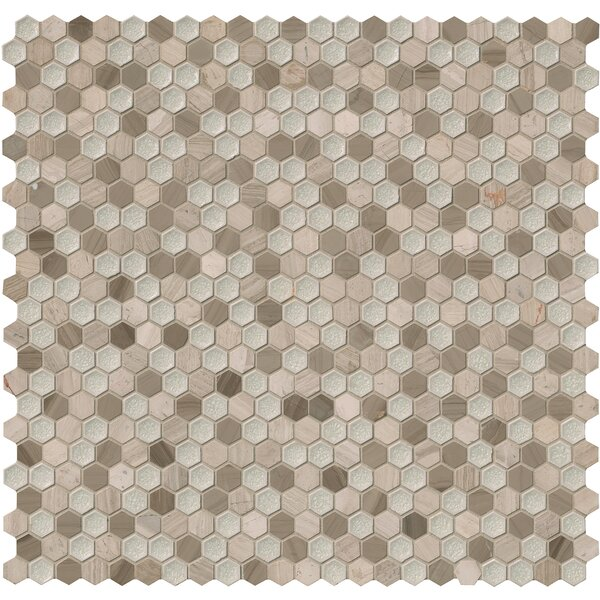 Hexham Hexagon 1 x 1 Glass/Stone Mosaic Tile in Gray by MSI