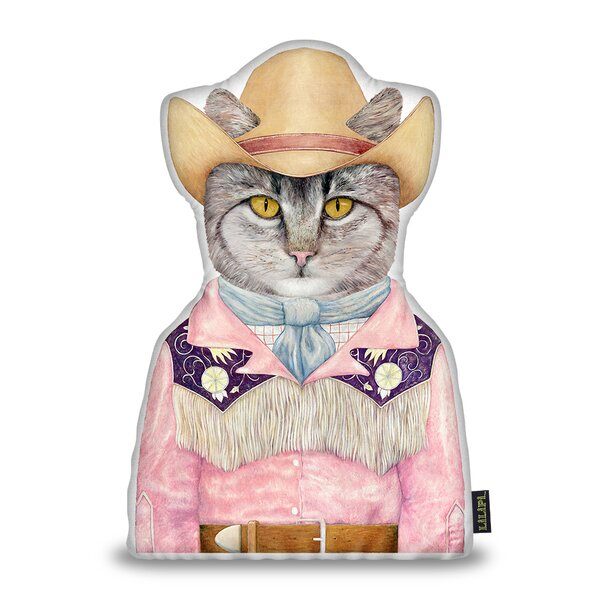 Jenkinson Cowboy Cat Shaped Throw Pillow by Wrought Studio