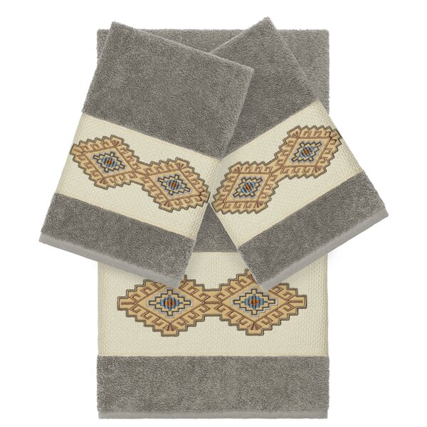 Embassy Embellished 3 Piece Turkish Cotton Towel Set by Millwood Pines