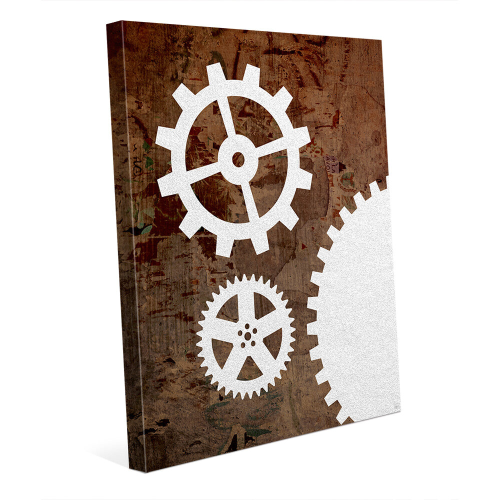 Click Wall Art Pristine Gears And Brown Grunge Graphic Art On Wrapped Canvas Wayfair Ca