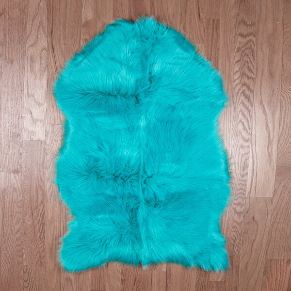 Eiland Super Soft Sheepskin Teal Blue Area Rug by Ebern Designs