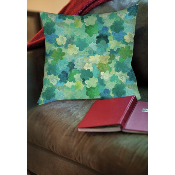 Aqua Bloom Water Blends Printed Throw Pillow by Manual Woodworkers & Weavers
