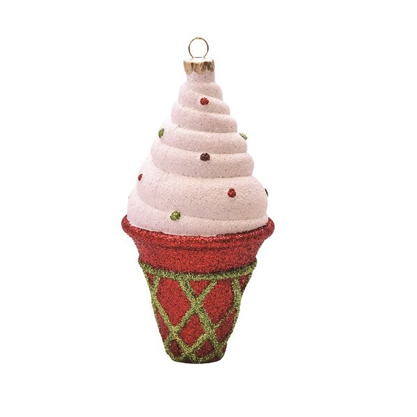 Merry and Bright Glitter Shatterproof Ice Cream Cone Christmas Ornament by The Holiday Aisle