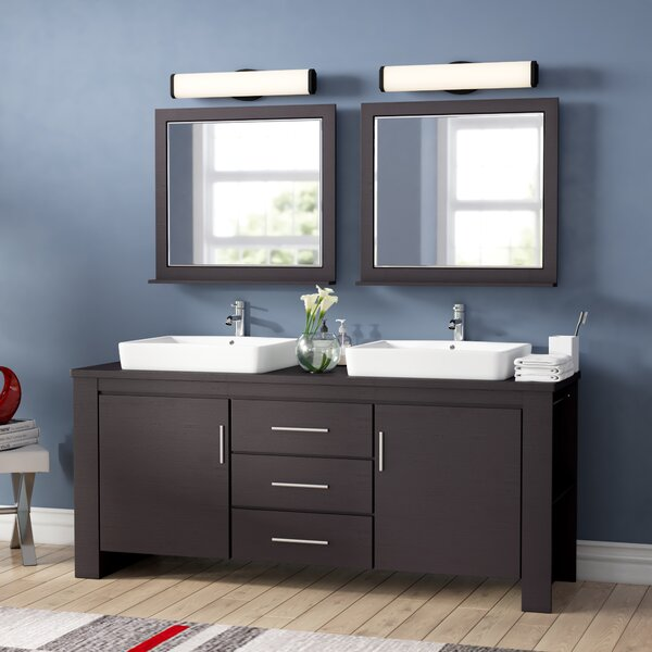 Blaser 72  Double Bathroom Vanity Set with Mirror by Wade Logan