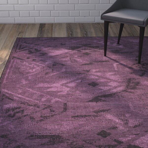 Circinus Black/Purple Area Rug by Mercury Row