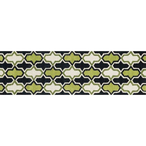Maziarz Hand-Tufted Black/Green Area Rug by Ivy Bronx